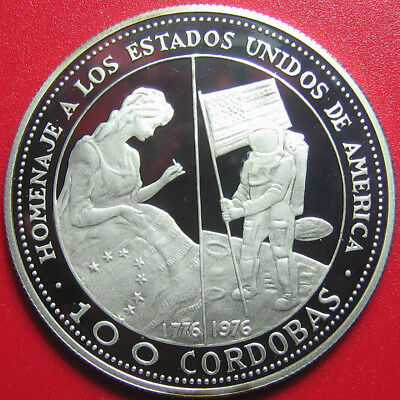 1975 Nicaragua 100 Cordobas Silver Proof Betsy Ross Flag Moon Us Bicentennial