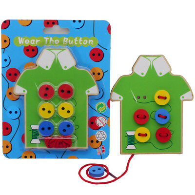 Montessori Educational Toys Children Beads Lacing Board Wooden Toys Toddler T6JD