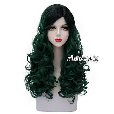 Lolita Dark Green Mix Black Long 60CM Curly Fashion Party Cosplay Wig + Wig Cap