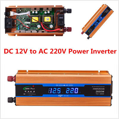 Car DC12V to AC220V Power Inverter 2600W Converter USB Charger w/Digital Voltage