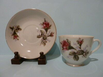SUPERIOR QUALITY Cup and Saucer Set Pink Rose Gold Rim in VGC
