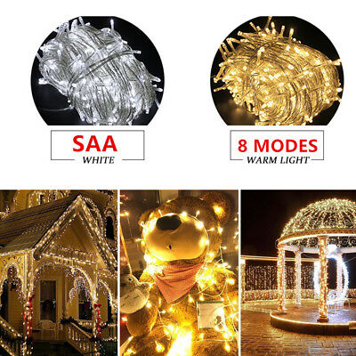 500 LED 30 40 50 100M Warm White Fairy Christmas String Lights Wedding Party SAA