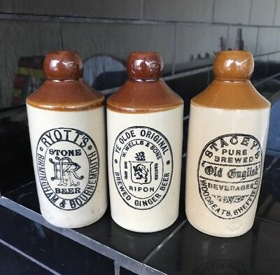 Set Of 3 X VINTAGE STONE GINGER BEER BOTTLES W. WELLS STACEY'S RYOTT'S