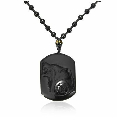 SS Natural Handwork Carved Black Obsidian Wolf Head Pendant With Beads Necklace