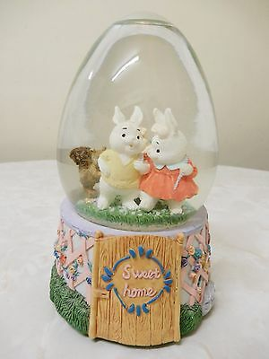 Pretty Rabbit Themed Sweet Home Egg Shaped Snow Dome/globe  15 Cm Hx10 Cm Bnnt