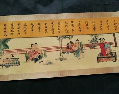 Collectible Shunga Drawing Erotic lust Chinese Body Art old Long Scroll Love