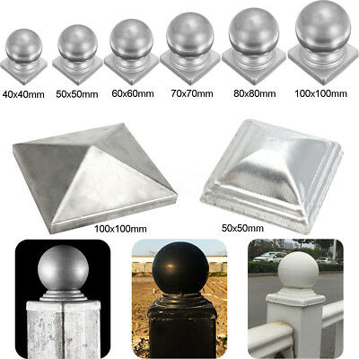 40-100mm Silver Metal Square Round Finial Gate Fence Gate Post Ball Cap Flange