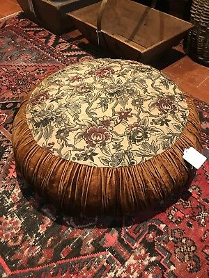 Vintage Antique French Velvet Pouffe
