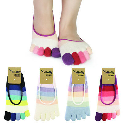 kilofly Women No Show Lightweight Striped Toe Socks Pairs Ankle Crew Toesocks