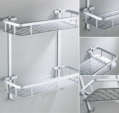 Aluminium Storage Rack Bathroom Shower Bath Shampoos Holder Shelf Storage Useful