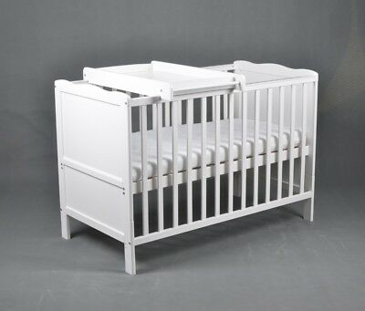 Wooden Baby Cot Bed  &  Mattress with Top Changer