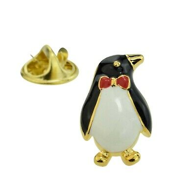 Front View Oval Penguin Lapel Pin Badge X2AJTP351