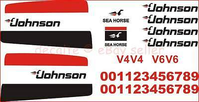 JOHNSON All HP Motor Outboards Decals Stickers V4 V6 1970-1980 Universal Kit Set