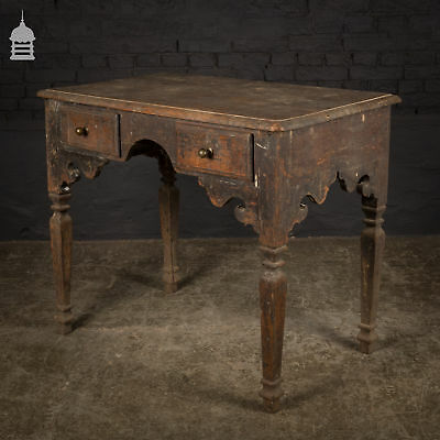 Small 19th C Anglo Indian Elm Desk Dressing Table with Drawers