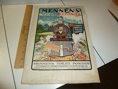 Antique 1902 Mennen Toilet Powder Clears the Track Ad Locomotive Theme