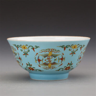 Marked Old Chinese Ming dyn ChengHua porcelain tea cup tea bowl:Phoenix
