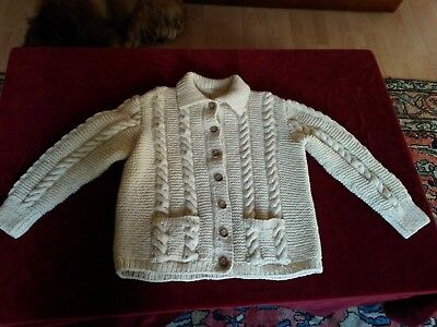 VESTE CARDIGAN PURE LAINE TRICOTE MAIN 12/14a VINTAGE 70 HAND KNITTED CARDIGAN