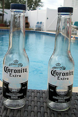 CORONA SALT AND PEPPER SHAKERS (1 pair of 7oz Coronita Extra bottles with caps)