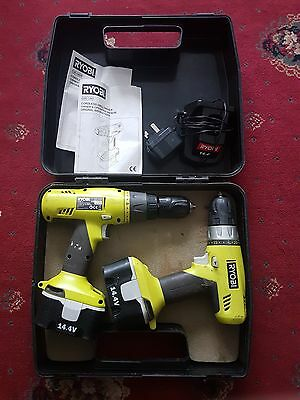 RYOBI IMPACT CHI-1442P + CHD-1441 DRILL Twin-SET With Batteries + Carry Case