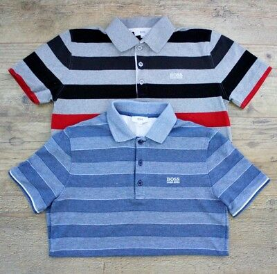 Hugo Boss Boys Bundle X2 Red Blue Grey Black Striped Polo Top Shirt Age 11-12 Y
