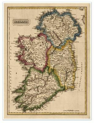 """LARGE Elegant Color Political Map of Old IRELAND circa 1822 18""""x24"""""""