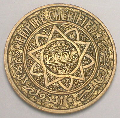 1952 Morocco Moroccan 50 Francs Pentacle Coin VF+
