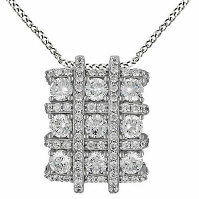 "Cubic Zirconia Cluster Pendant w/18"" Chain 14k White Gold Over Sterling Silver"