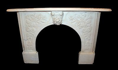 19th Century Highly Carved White Marble Mantel