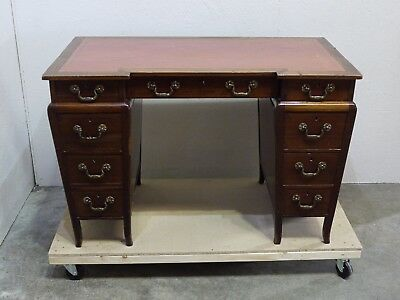 Ladies Charming Antique Continental desk - inlaid mahogany  tooled leather  (57)