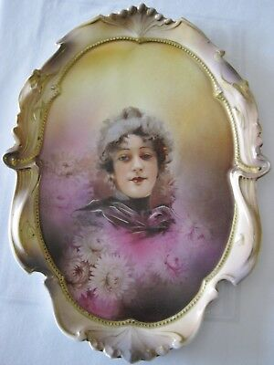 RS Prussia Scarce Flossie Portrait Wall Plaque- AMAZING COLORS!!!