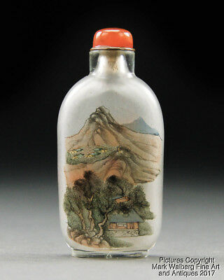 Chinese Inside Painted Glass Snuff Bottle, Landscape and Rooster, 19th Century