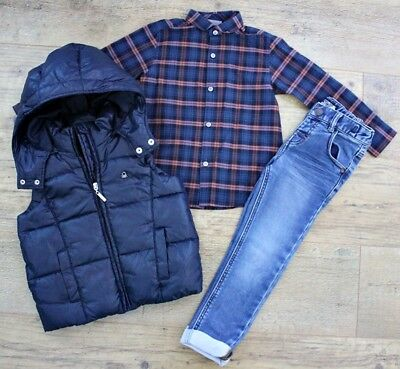 Next Benetton Boys Bundle Outfit Jeans Shirt Jacket Waistcoat Gillet Coat 3-4 Y
