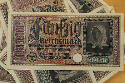 50 Reichsmark Nazi Germany Currency German Banknote Note Money Bill Swastika Ww2