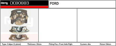 FORD FIESTA Mk2 1.6 Brake Caliper Front Right 84 to 89 Remy 6187316 6159330