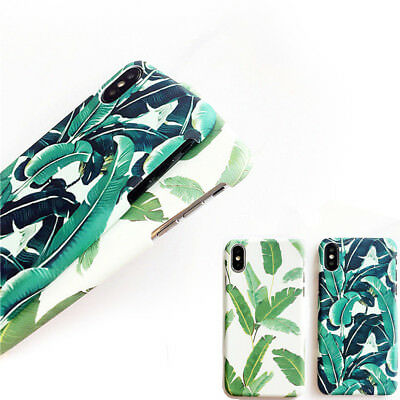 New Tropical Green Ultra Hard PC Matte Banana Leaf Plant Phone Case For iPhone X