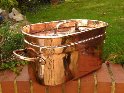 HEAVY FRENCH ANTIQUE early 19th CENTURY COPPER KITCHEN DAUBIERE / BRAZING PAN