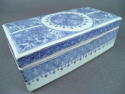 Fine Old Chinese Blue and White Porcelain Box Scholar Art