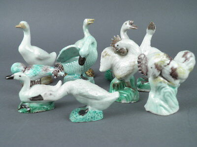 Fine Old Chinese Lot (10) Green White Porcelain Ducks Animal Figurines Scholar