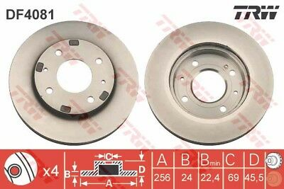 VOLVO S40 Mk1 2x Brake Discs (Pair) Vented Front 1.9 1.9D 95 to 00 256mm Set TRW