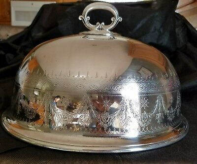 Antique Silver Plate Meat Food Cover Dome Elkington & Co 1873