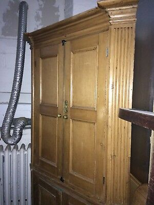 Maple Corner Cabinet, 19th- early 20th Century Vintage Panel Doors Brass Pulls