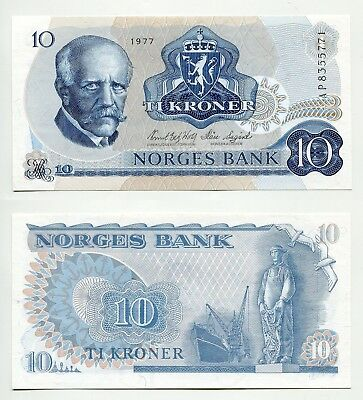 10 Kroner Norwegen 1977 unc  Pick 36c