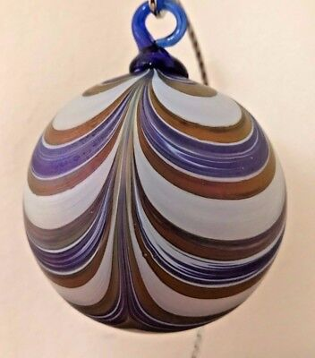 The Furnace Blown Glass Winter Current Ribbon Ornament 3.5 in diam