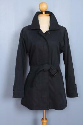 Womens BURBERRY Single Breasted Short TRENCH Coat Mac Navy 10/12