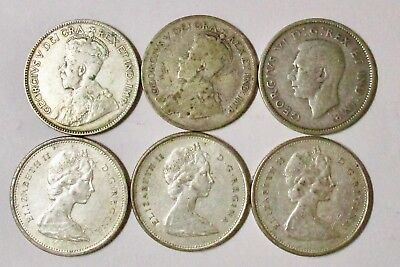 Canadian Quarter Lot of 6 silver coins 1929 1931 1941 1963 1968 x 2