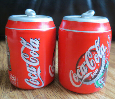VINTAGE COCA COLA Classic Pull Tab Can Ceramic Salt and Pepper Shakers