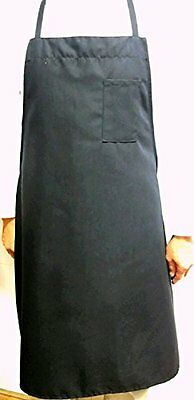 "Over sized Black Bib Cotton Apron with One Pencil Pocket 35.5""L x 34"" W."