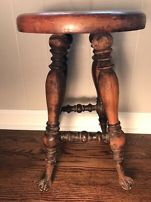 "Antique Piano Stool Ball Claw Feet with Glass Balls - 17"" Tall - Fixed Height"