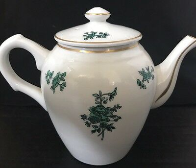 Vintage Portuguese Tea Pot -Vista Alegre - Green Rose Gold Flower Pattern Teapot