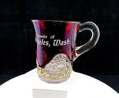 "Us Glass Rare Jewel Lacy Medallion Pt Angeles Ruby Flash Handled 3 3/4"" Tumbler"